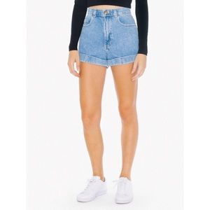 American Apparel Denim High-Waist Cuff Short